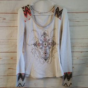 Miss Me Waffle Knit Thermal Cross Embellished Top